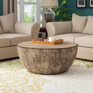 aron round wood coffee table