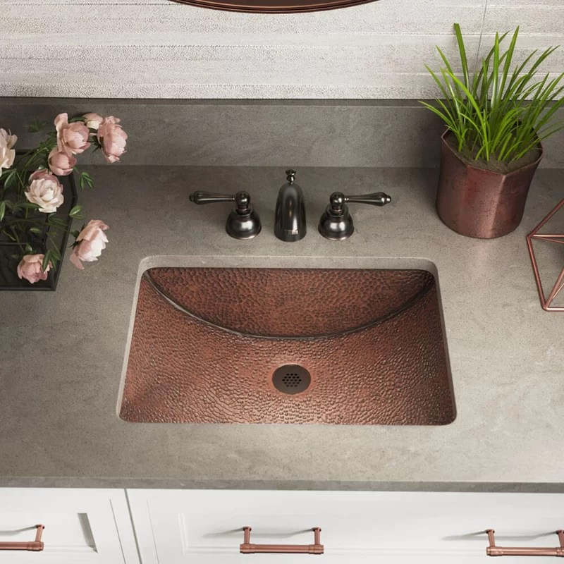 copper rectangular undermount bathroom sink with drain assembly