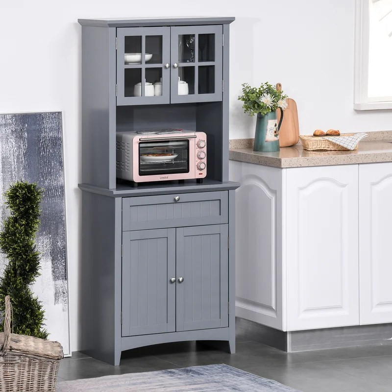 kitchen buffet hutch wooden storage cupboard with framed glass door drawer and microwave space white
