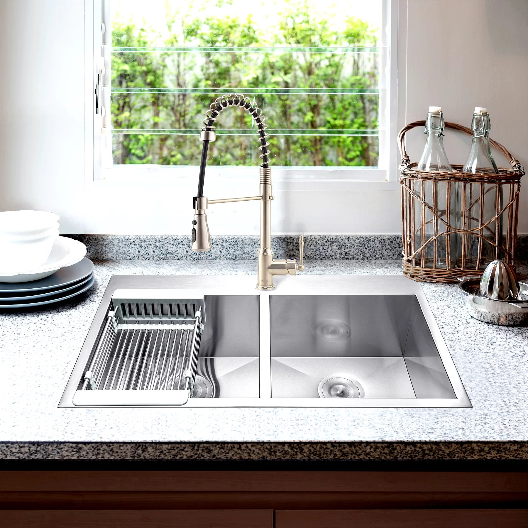 33 l x 22 w double basin undermount kitchen sink with faucet