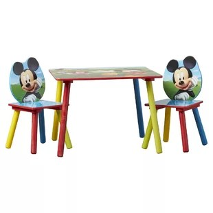 mickey mouse kids 3 piece writing table and chair set