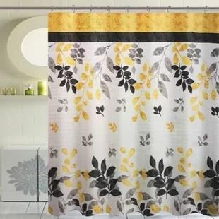 black nature floral shower curtains