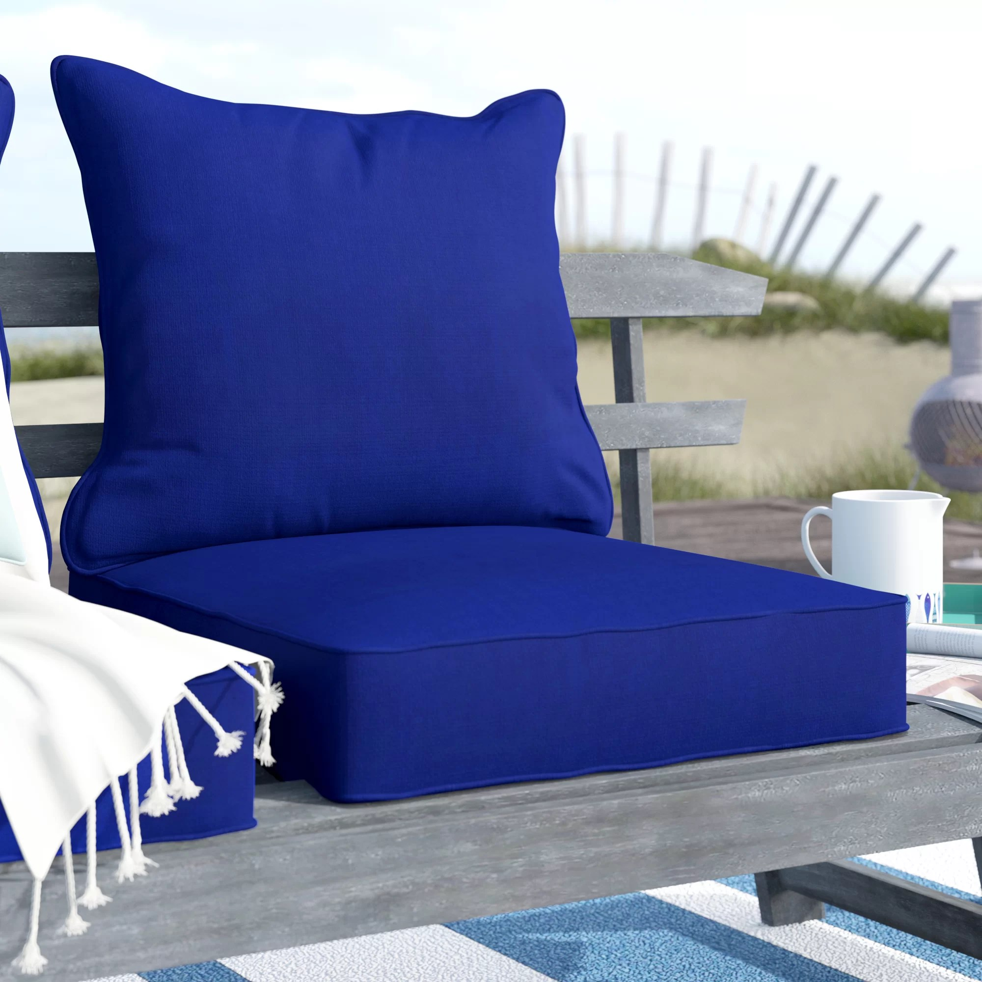 2 piece indoor outdoor chair cushion set