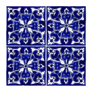 mediterranean 4 x 4 ceramic azur decorative tile in blue white