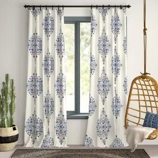 charleston cotton damask printed twill floral room darkening rod pocket single curtian panel