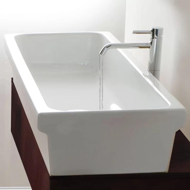 italian fireclay rectangular vessel bathroom sink