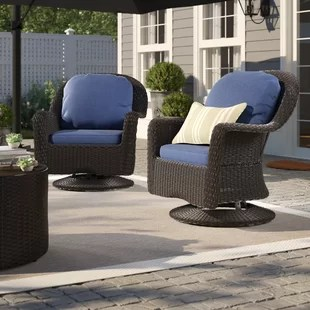 armas modern outdoor wicker swivel club patio chair with cushions set of 2