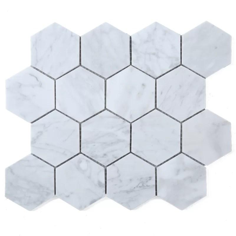 hexagon 3 x 3 marble mosaic tile