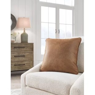 desoto square faux leather pillow cover and insert