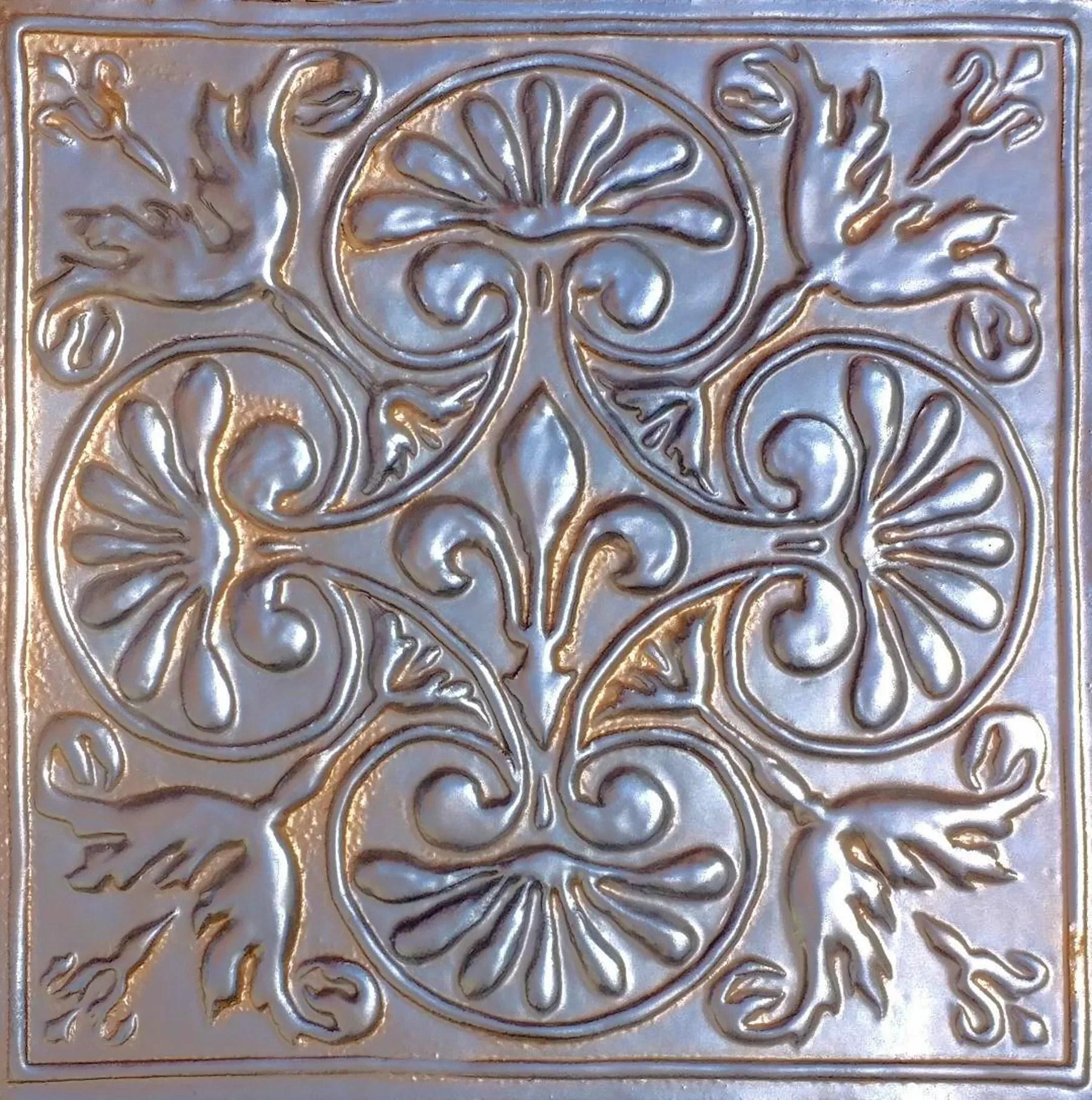 14 x 14 ceramic fleurdelis medallion tile in bronze