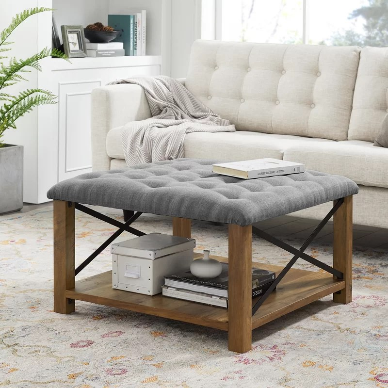 grube 30 wide tufted square cocktail ottoman with storage