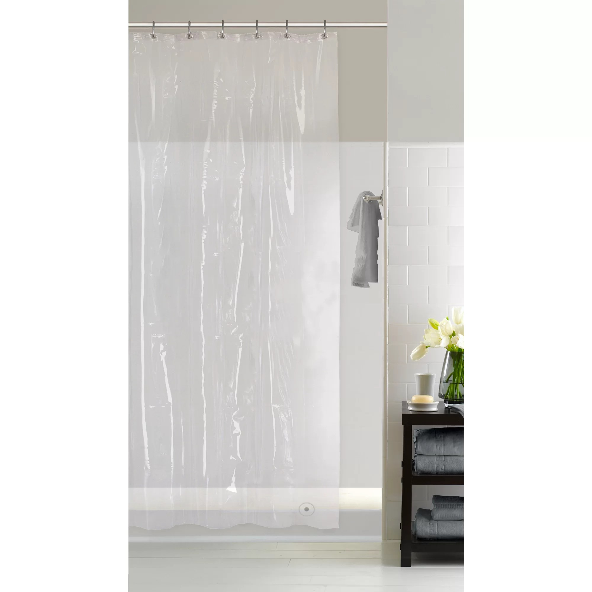 hoopa eva solid color shower curtain liner