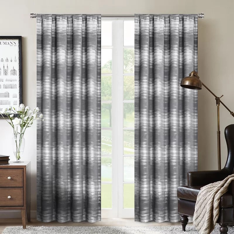 Wrought Studio Niagara Striped Max Blackout Thermal Rod Pocket Single Curtain Panel Amp Reviews
