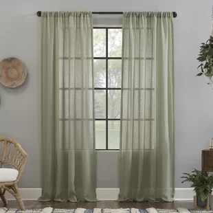 crushed texture anti dust solid sheer rod pocket single curtain panel