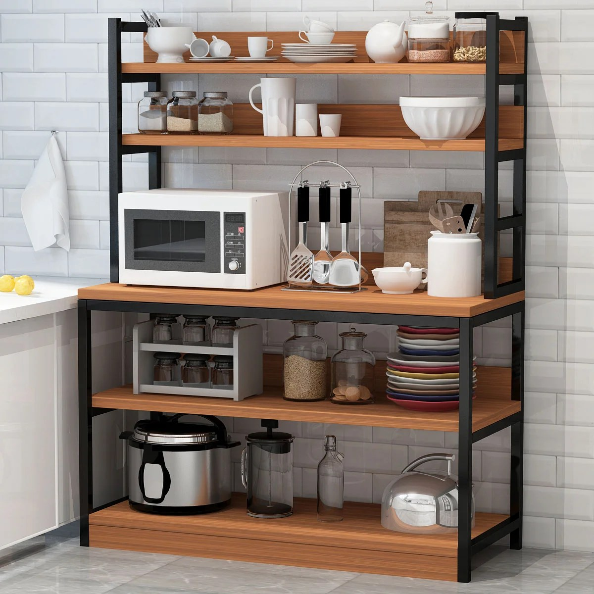 5 tier kitchen bakers rack with hutch industrial microwave oven stand free standing kitchen utility cart storage shelf organizer rustic brown