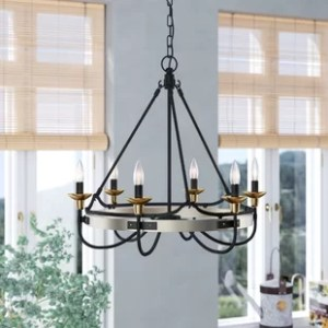 Eat In Kitchen Lighting   Wayfair JMill 6 Light Wagon Wheel Chandelier