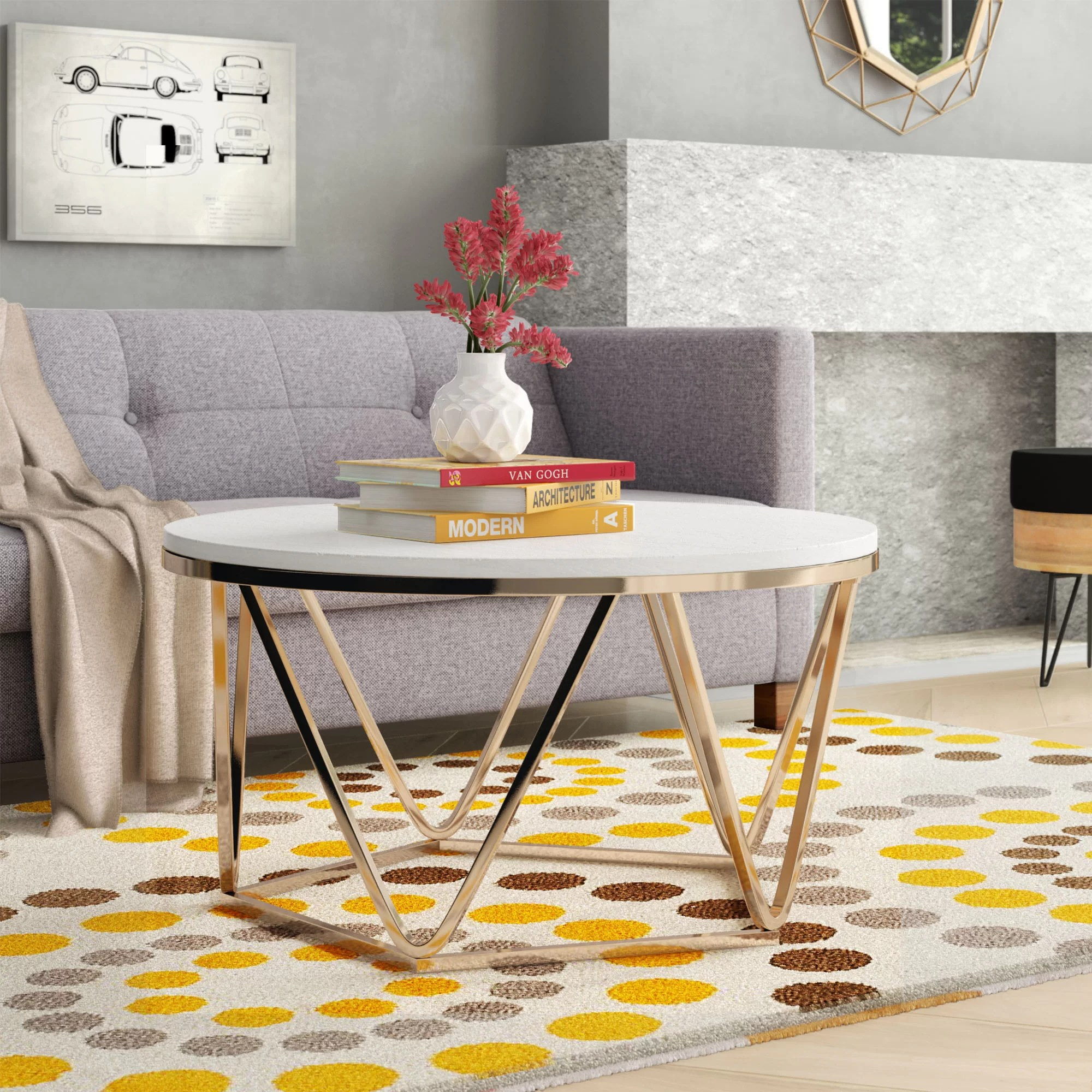 gold stone coffee tables you ll love in