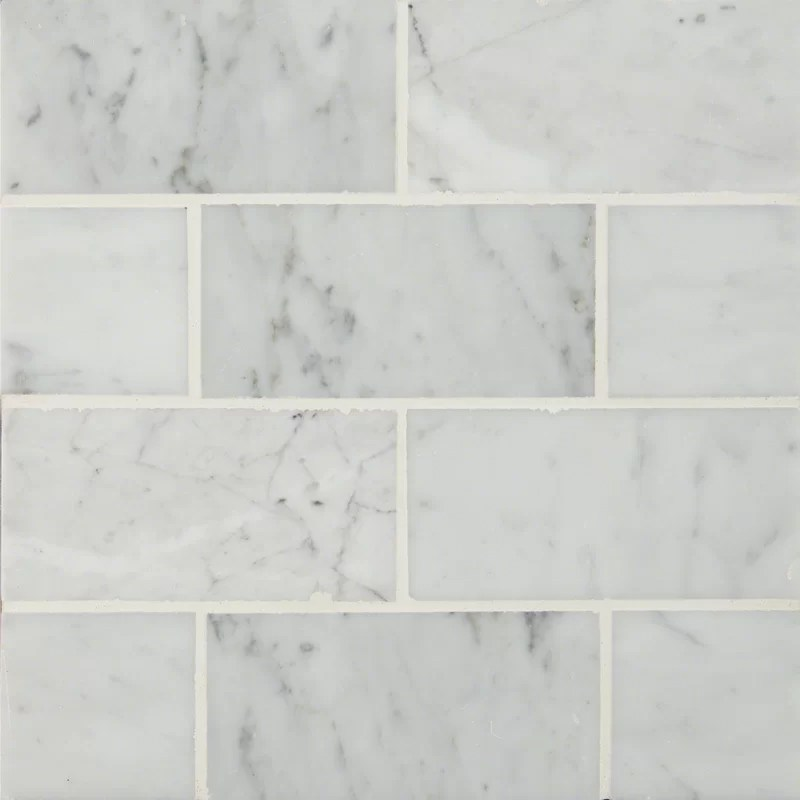3 x 6 polished marble subway tile in carrara white