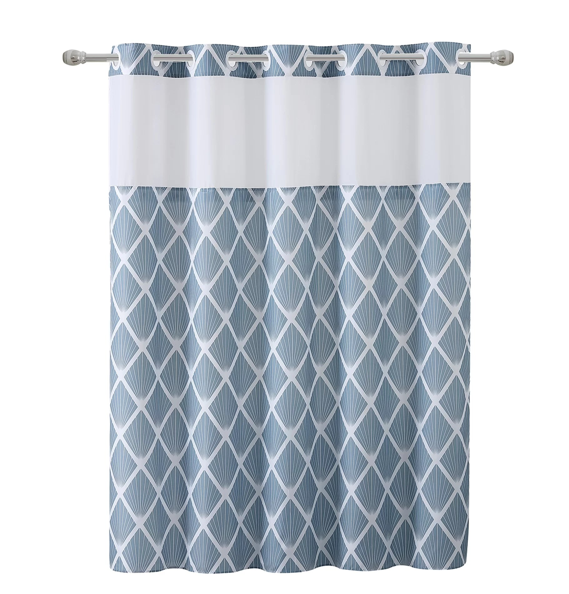 hookless shower curtain dobby pique with peva liner