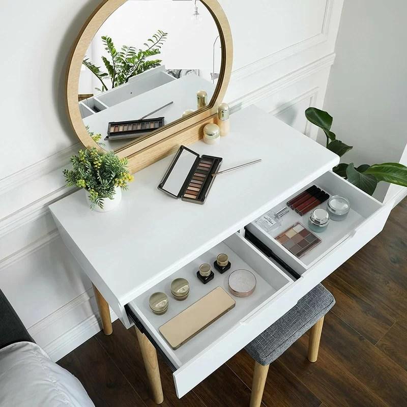 Wrought Studio Arinze Vanity Set With Stool And Mirror Reviews Wayfair