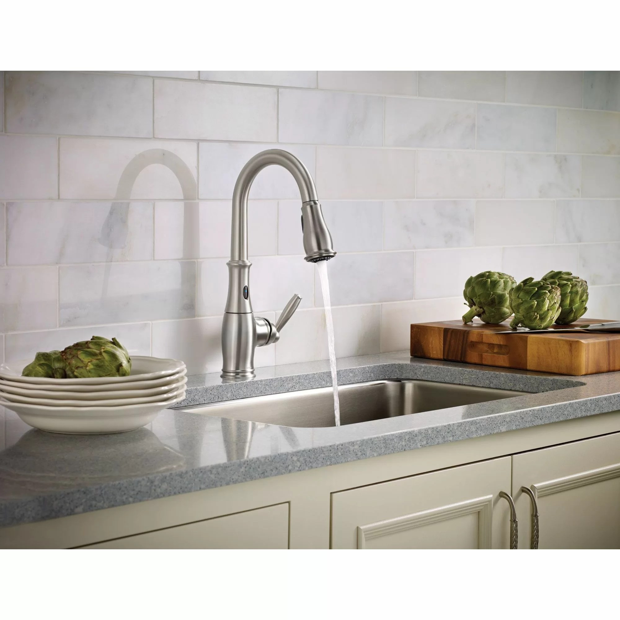 brantford pull down touchless single handle kitchen faucet