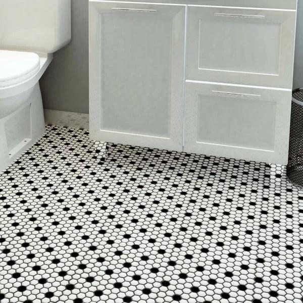 retro 1 x 1 porcelain honeycomb mosaic wall floor tile