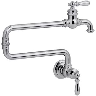 artifacts single hole wall mount pot filler with 22 extended spout