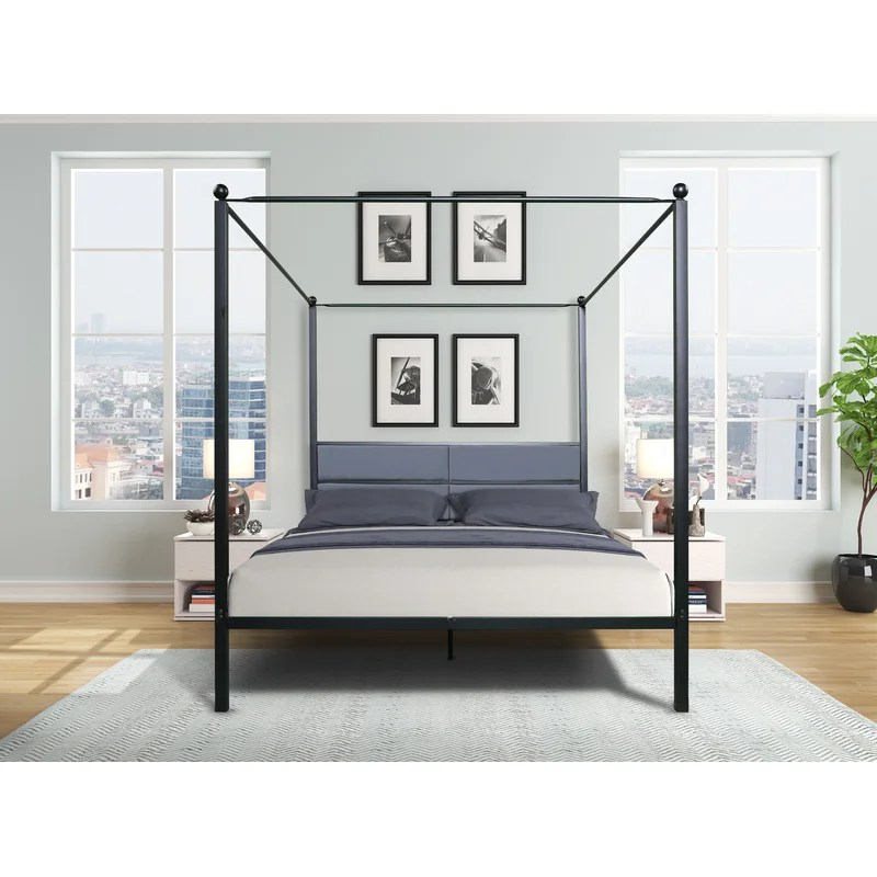 derting queen upholstered four poster bed