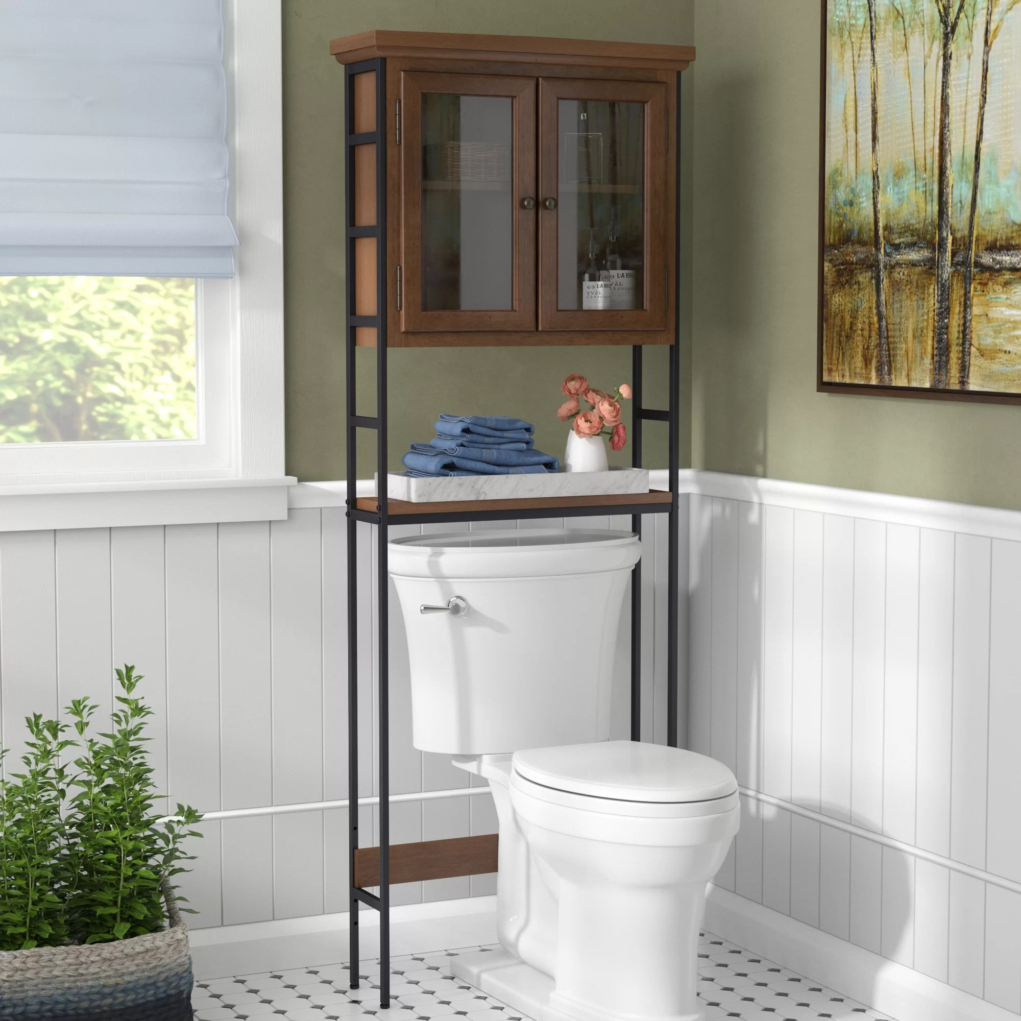 Three Posts Foxborough 25 5 W X 67 5 H X 8 D Solid Wood Over The Toilet Storage Reviews