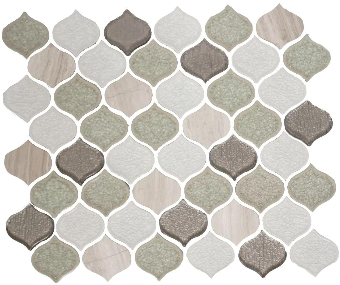 humphreys teardrop crackle random sized glass mosaic tile in light gray white