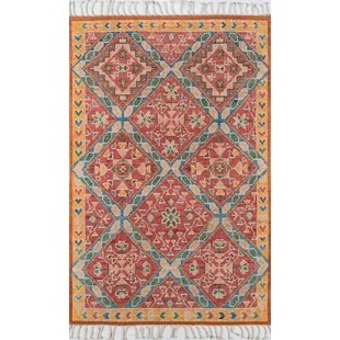 Chenoweth Hand-Knotted Wool Red/Yellow Area Rug