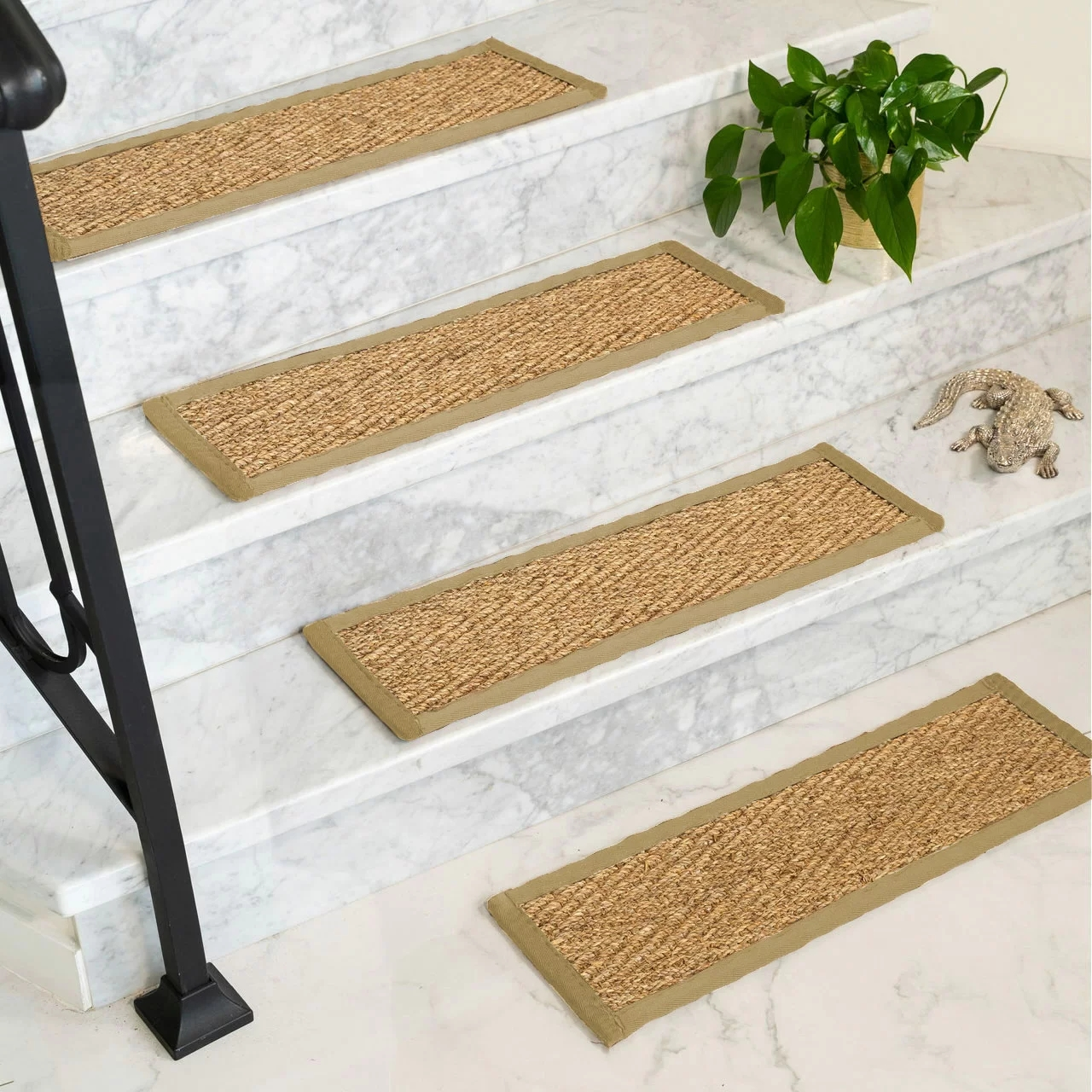 Rosecliff Heights Soperton Seagrass Carpet Stair Tread Reviews   Stair Treads For Carpeted Steps   Carpet Protectors   Skid Resistant   Bullnose Carpet   Anti Slip Stair   Wood