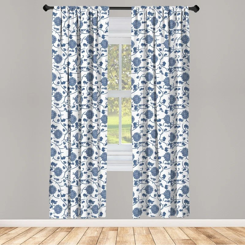 ambesonne blue curtains chinese floral garden pattern nature inspirations with traditional ornament design window treatments 2 panel set for living