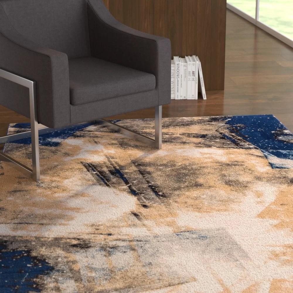 devanna modern abstract blue area rug