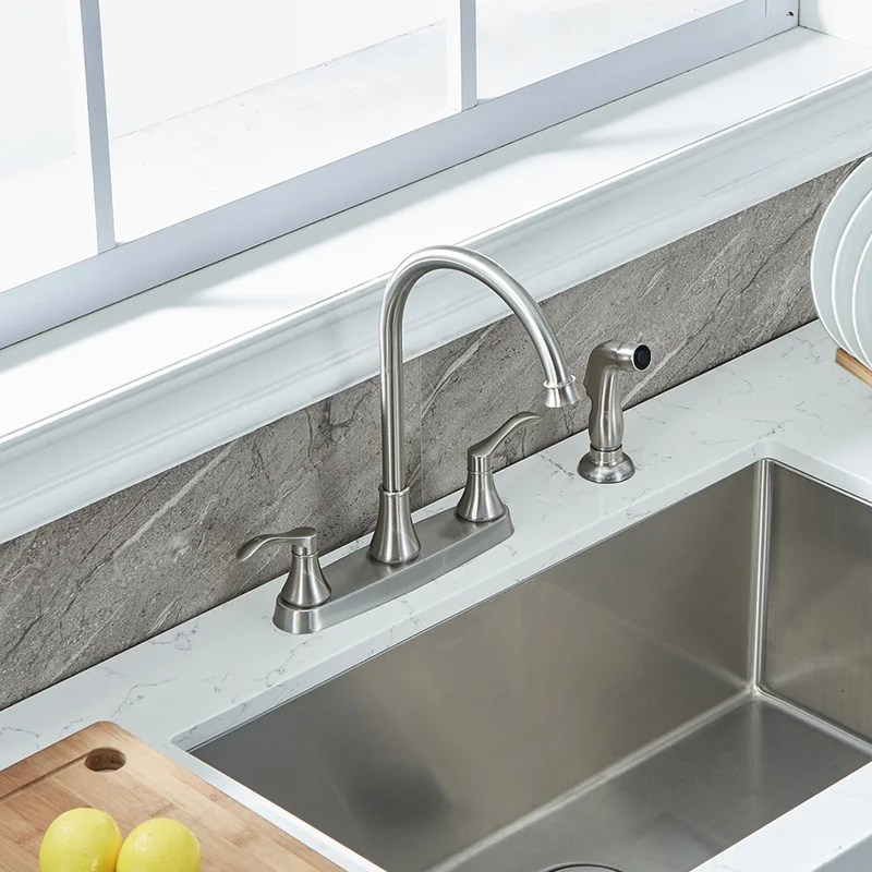 pull out double handle kitchen sink faucet with side sprayer