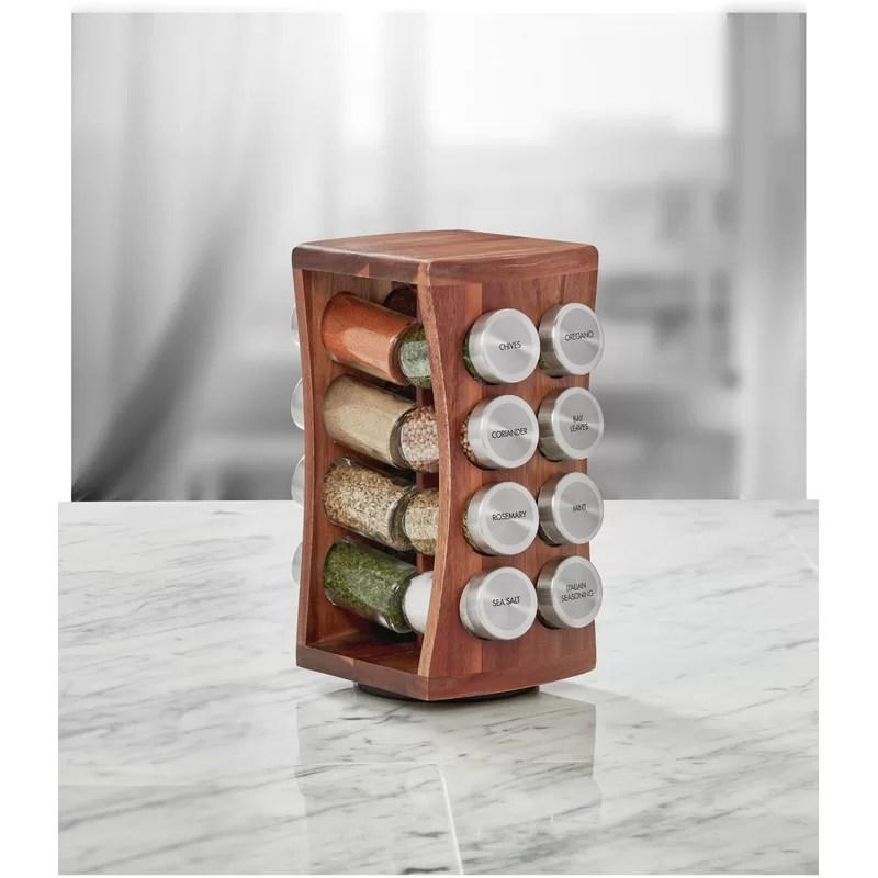 acacia wood hourglass 16 jar spice jar and rack set