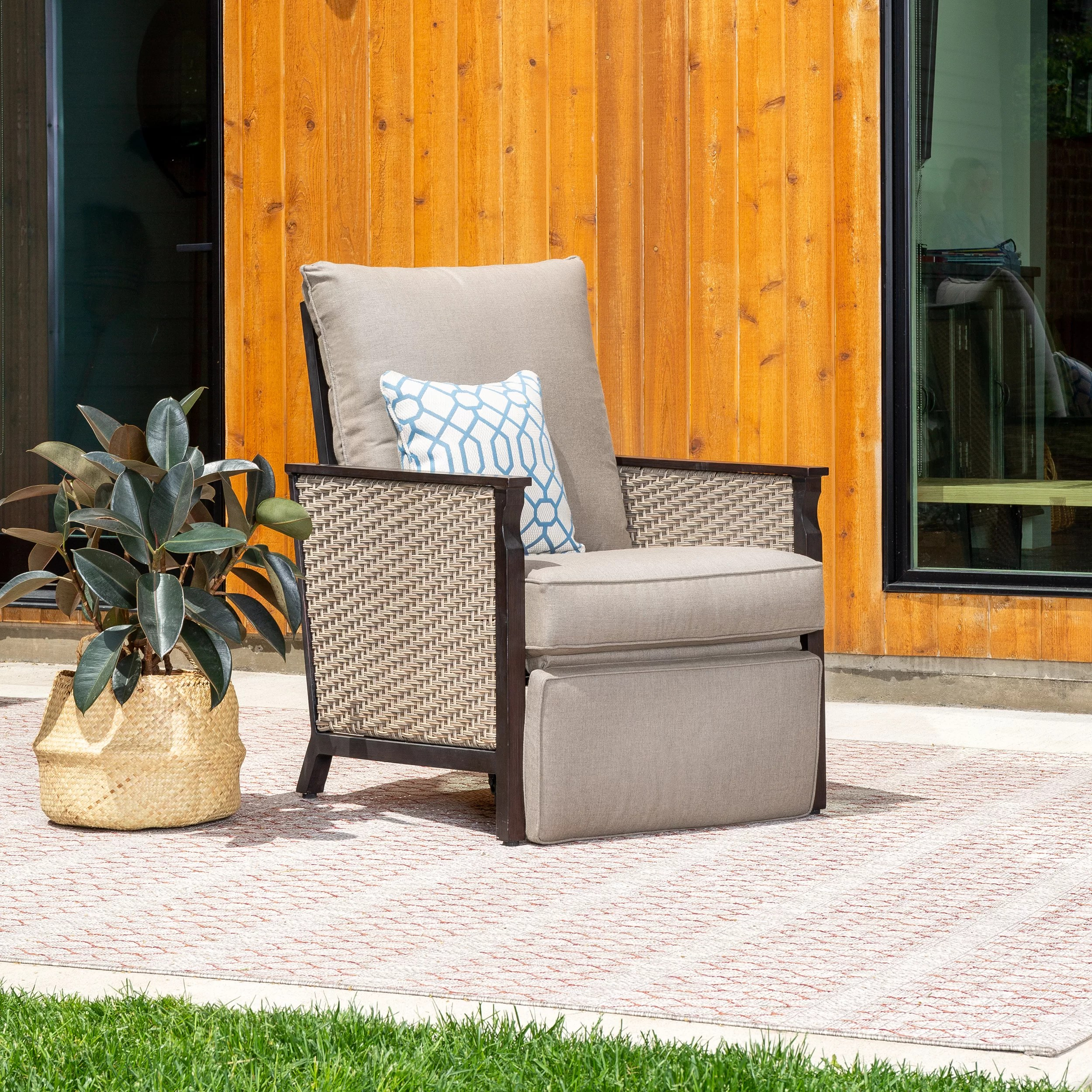 colton outdoor recliner patio chair with sunbrella cushions