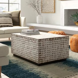 solid wood block coffee table