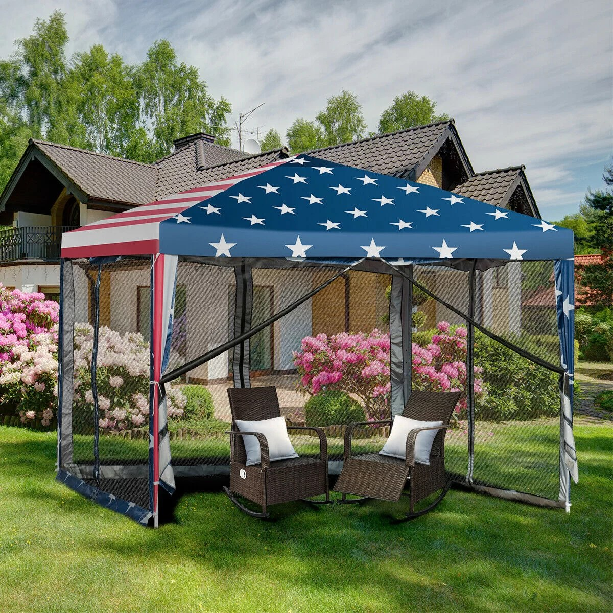 pop up canopy tent 10 ft w x 10 ft d metal patio gazebo