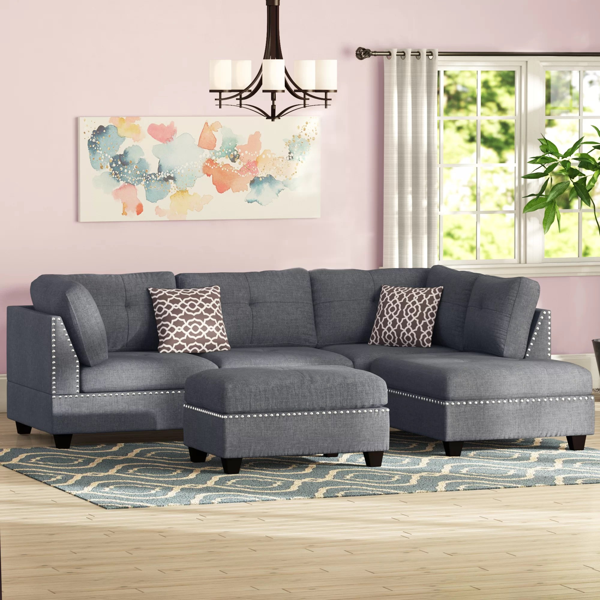 charlemont 104 wide reversible sofa chaise with ottoman