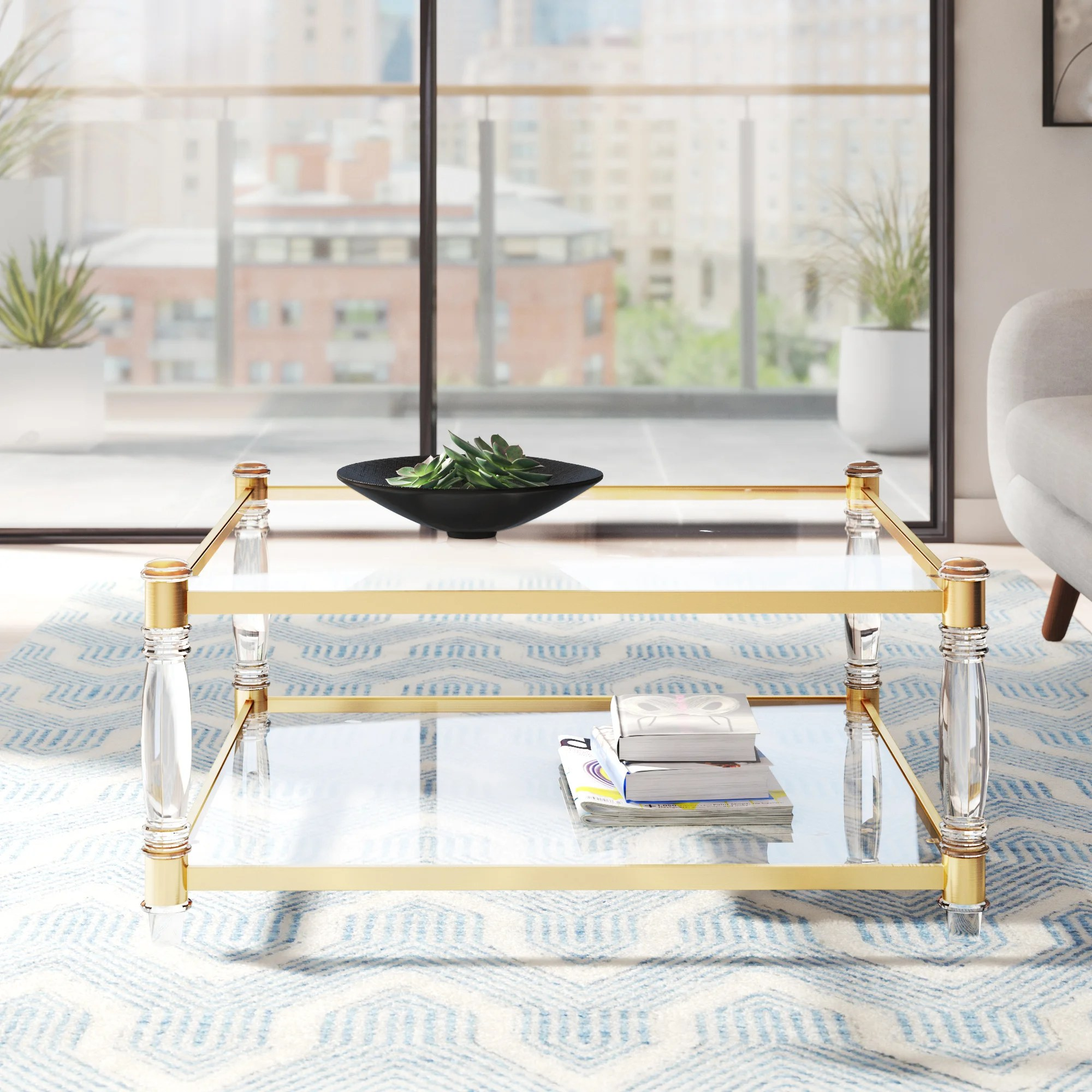acrylic brass coffee tables you ll love