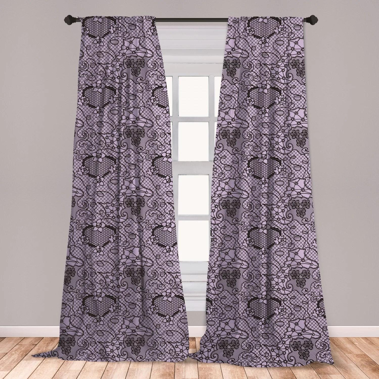 ambesonne gothic 2 panel curtain set black lace style needlecraft pattern with ornate flowers feminine victorian motifs lightweight window treatment