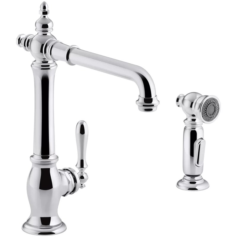 artifacts single handle kitchen sink faucet with sweep spray