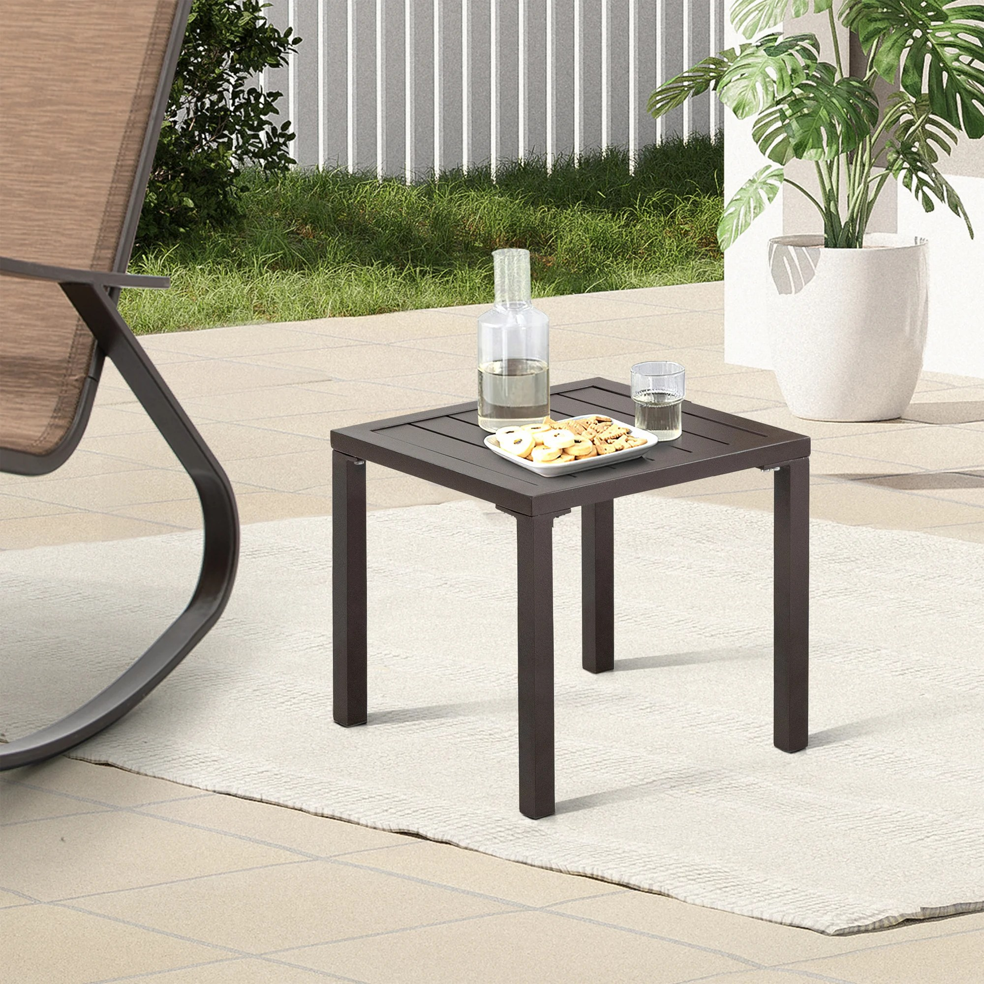 chaise lounge table aluminum square side end table small patio coffee bistro table for outdoor indoor