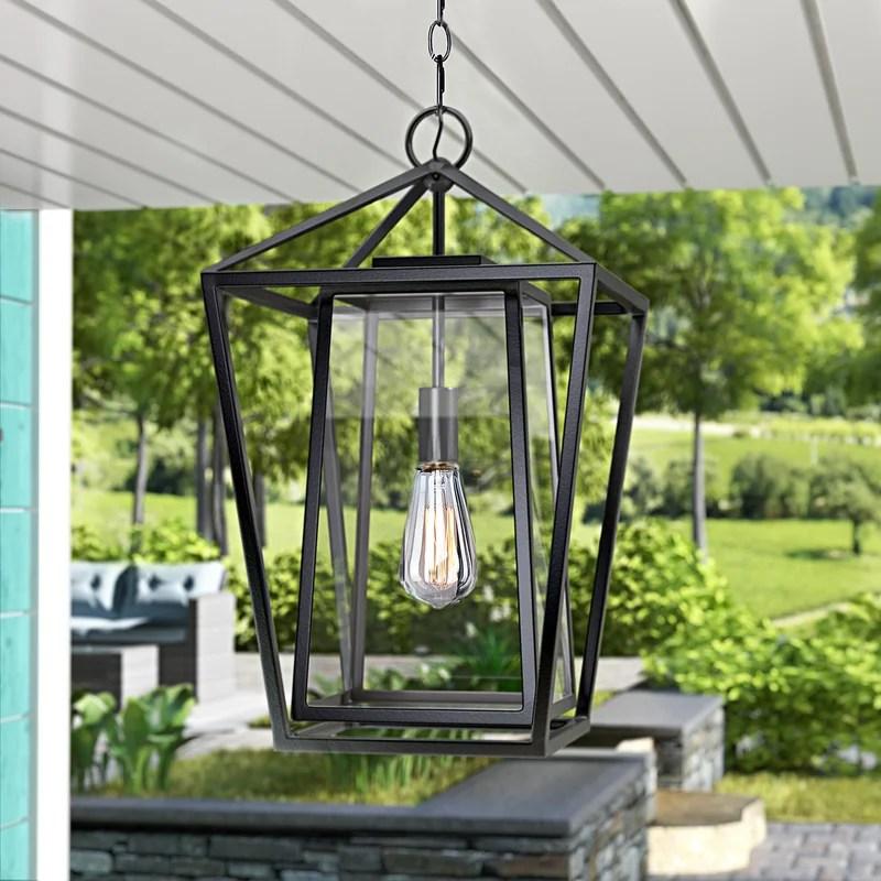 malia black 1 bulb 21 h outdoor hanging lantern