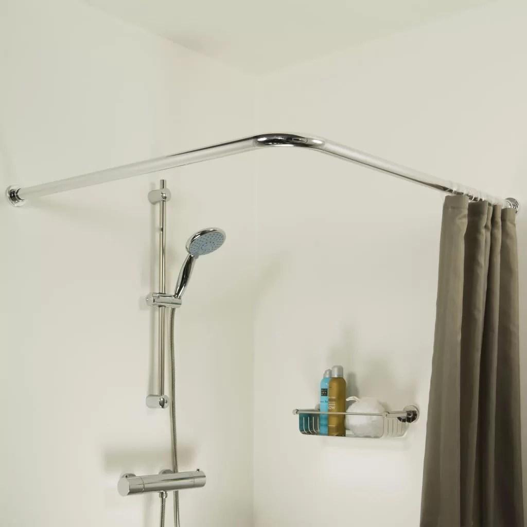ackley90cm l shaped tension shower curtain rail