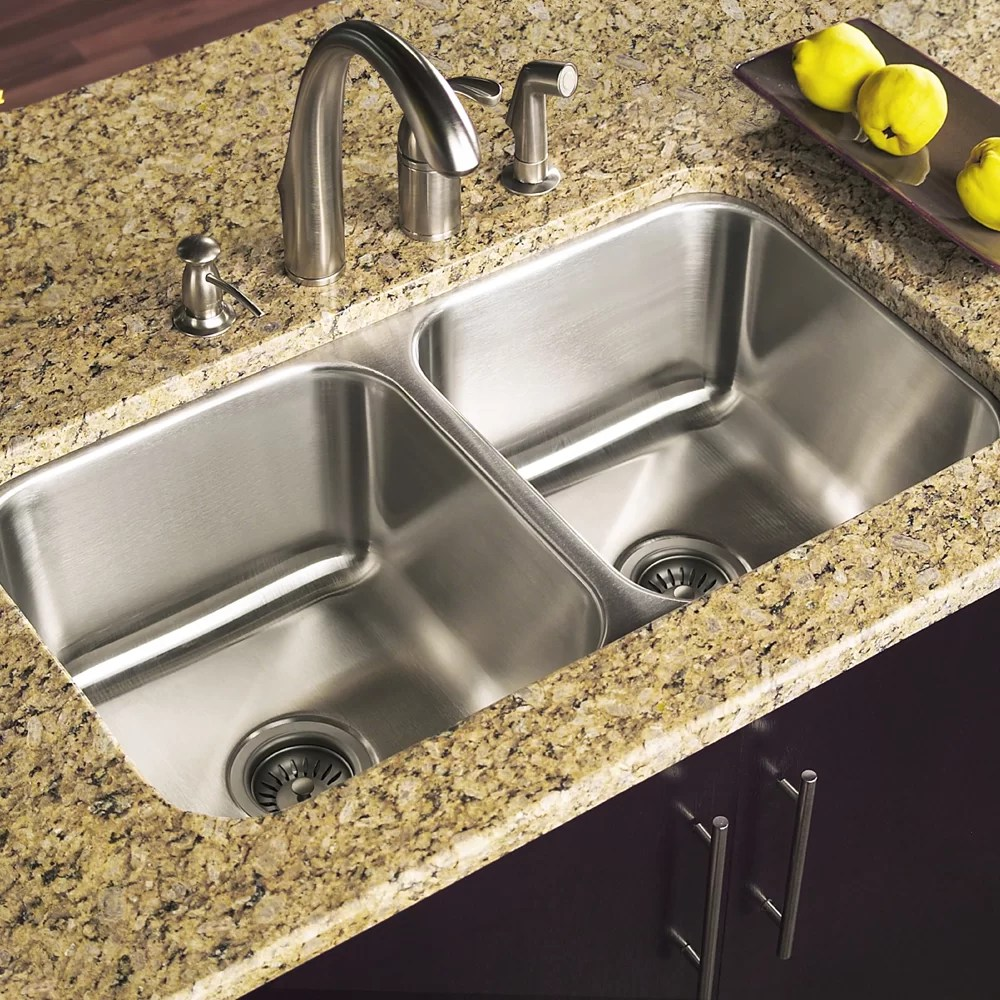 elite 31 5 l x 17 94 w undermount double bowl 50 50 kitchen sink