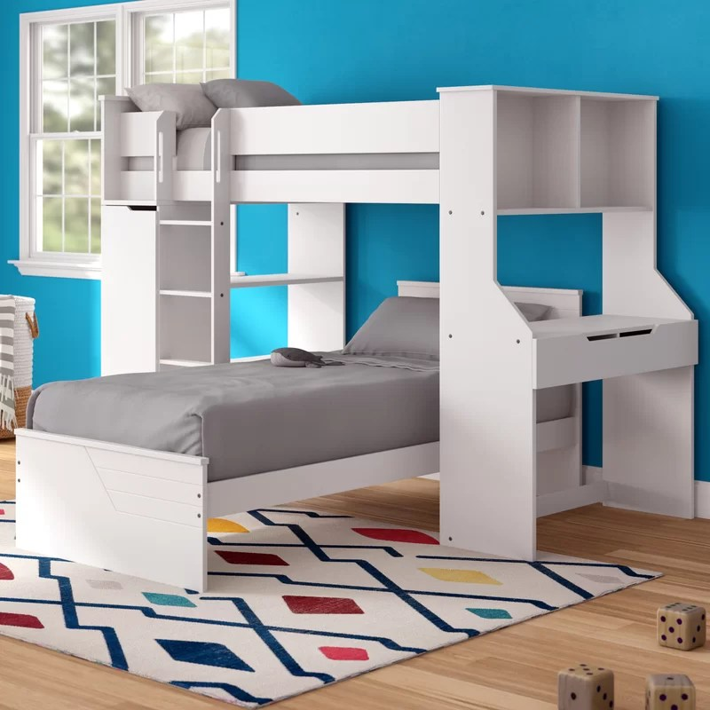 facey twin loft bed with desk and bookcase and drawers