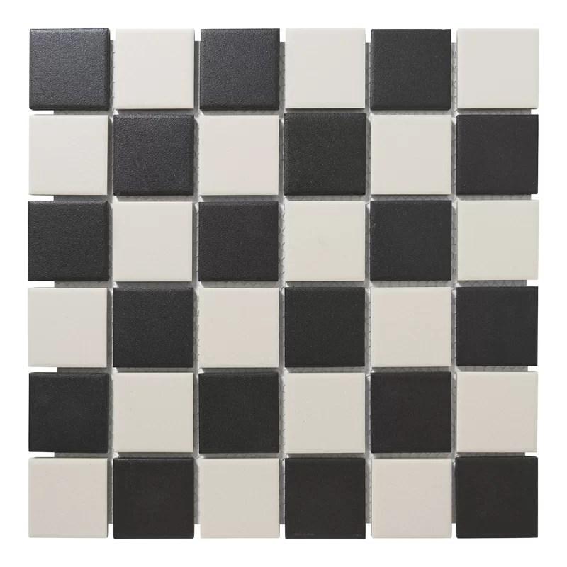 london chessboard 2 x 2 porcelain mosaic tile in black white