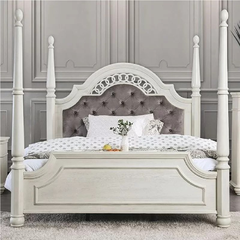 zebediah upholstered four poster bed